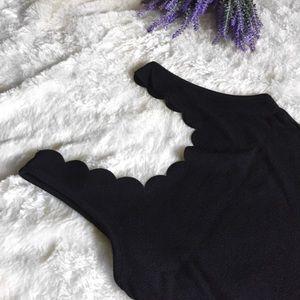 Swim - New Scalloped Bodysuit - Black